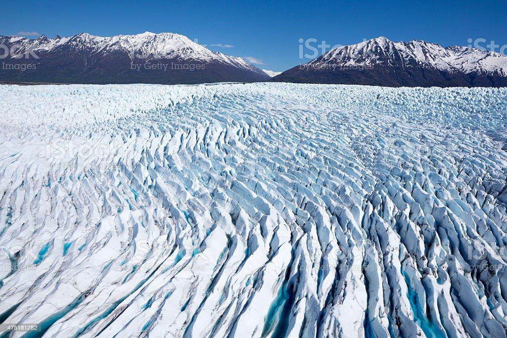 Knik River and Matanuska Glacier, Alaska Range with Chugach Mountains stock photo