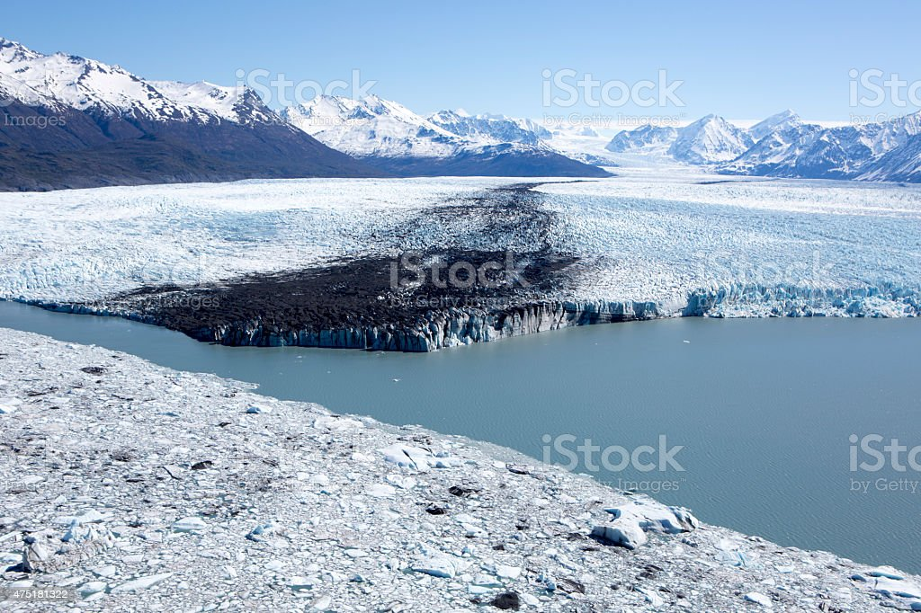 Knik River Glacier and Lake, Alaskan Mountain Range Alaska USA stock photo
