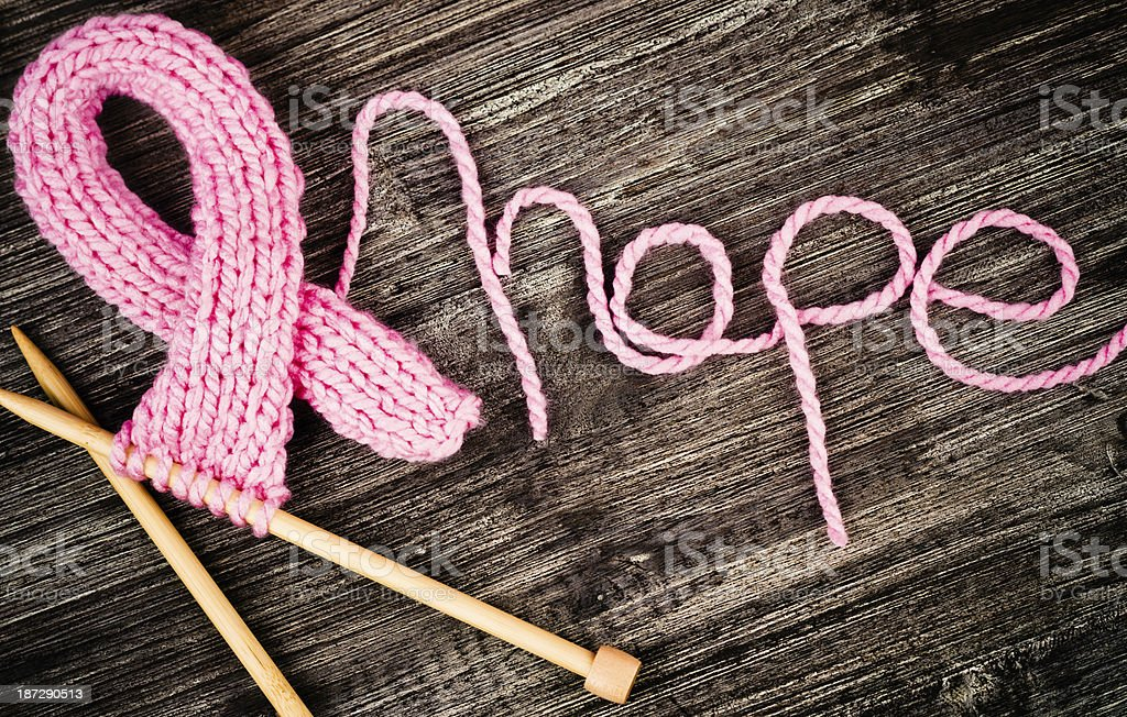 Knit for a Cure - Breast Cancer Awareness stock photo