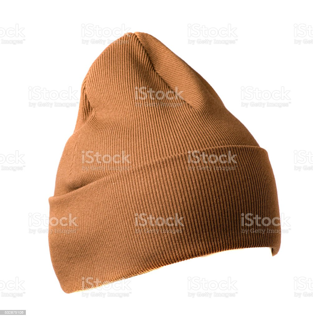 knitted  beanie isolated on white background stock photo