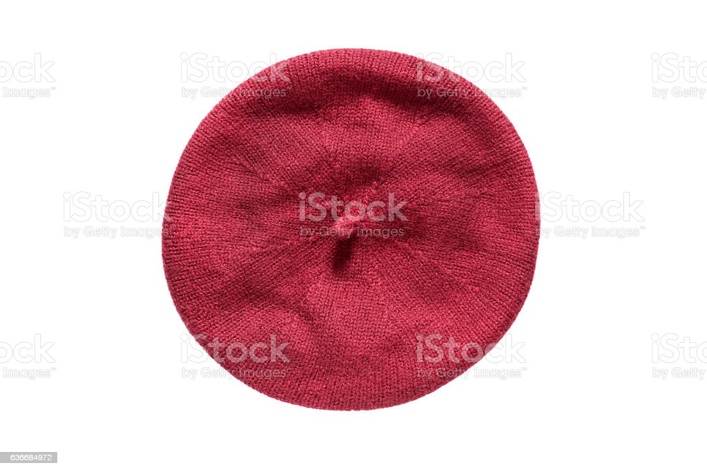 Knitted beret isolated stock photo