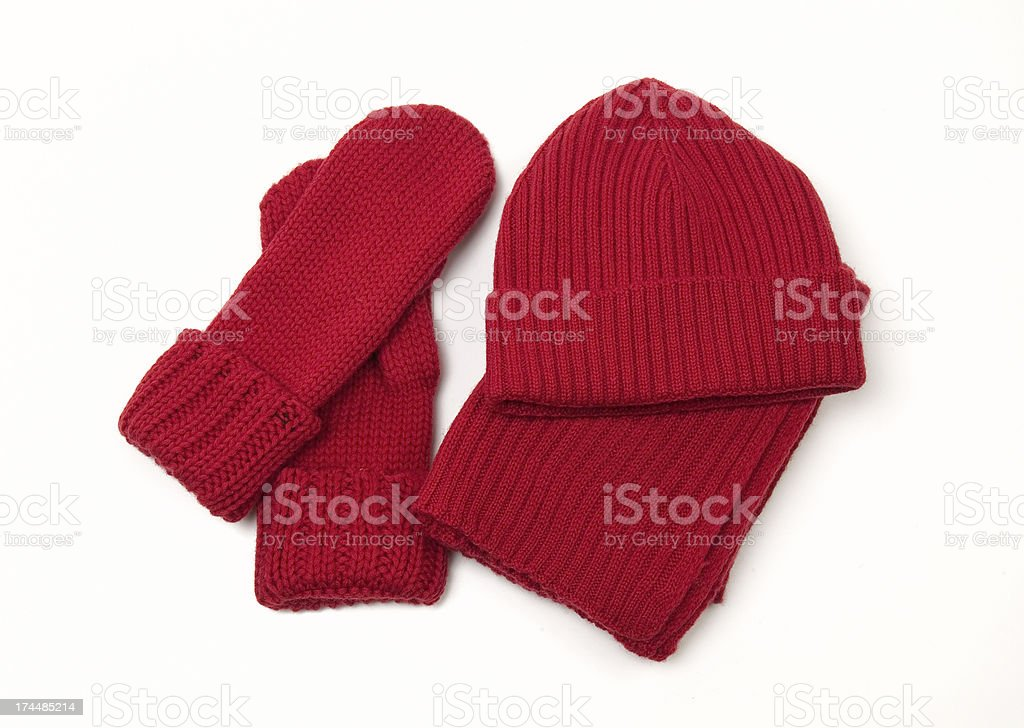 Knitted cap; scarf and gloves royalty-free stock photo