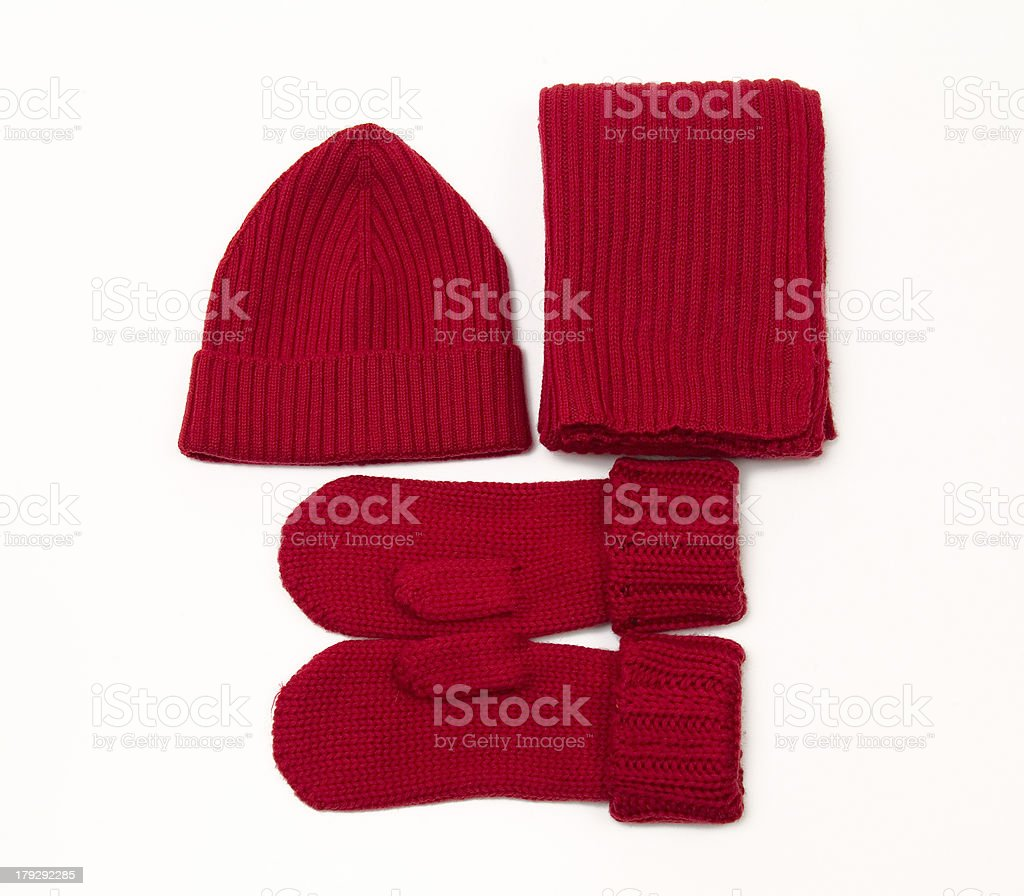 Knitted cap; scarf and gloves stock photo