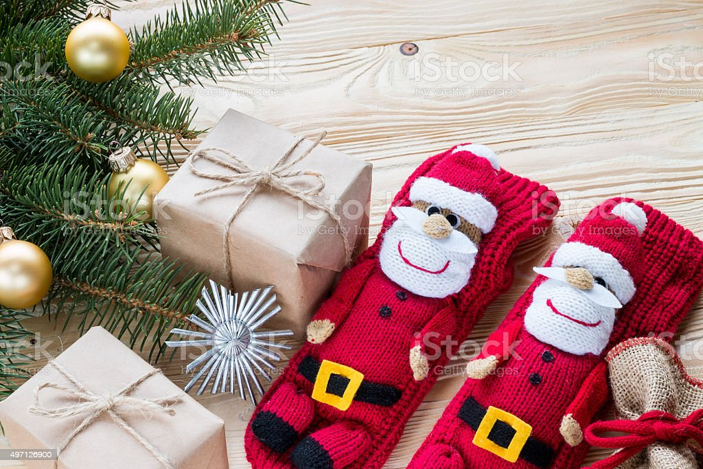 Knitted Christmas Stockings.Knitted Christmas Stockings Stock Photo Download Image Now