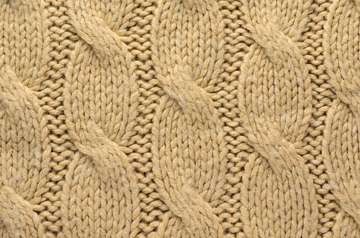Knitted Cloth Texture With Cable Knits Pattern Stock Photo ...