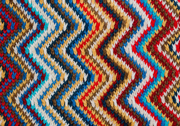 Knitted colorful zig zag patter. stock photo