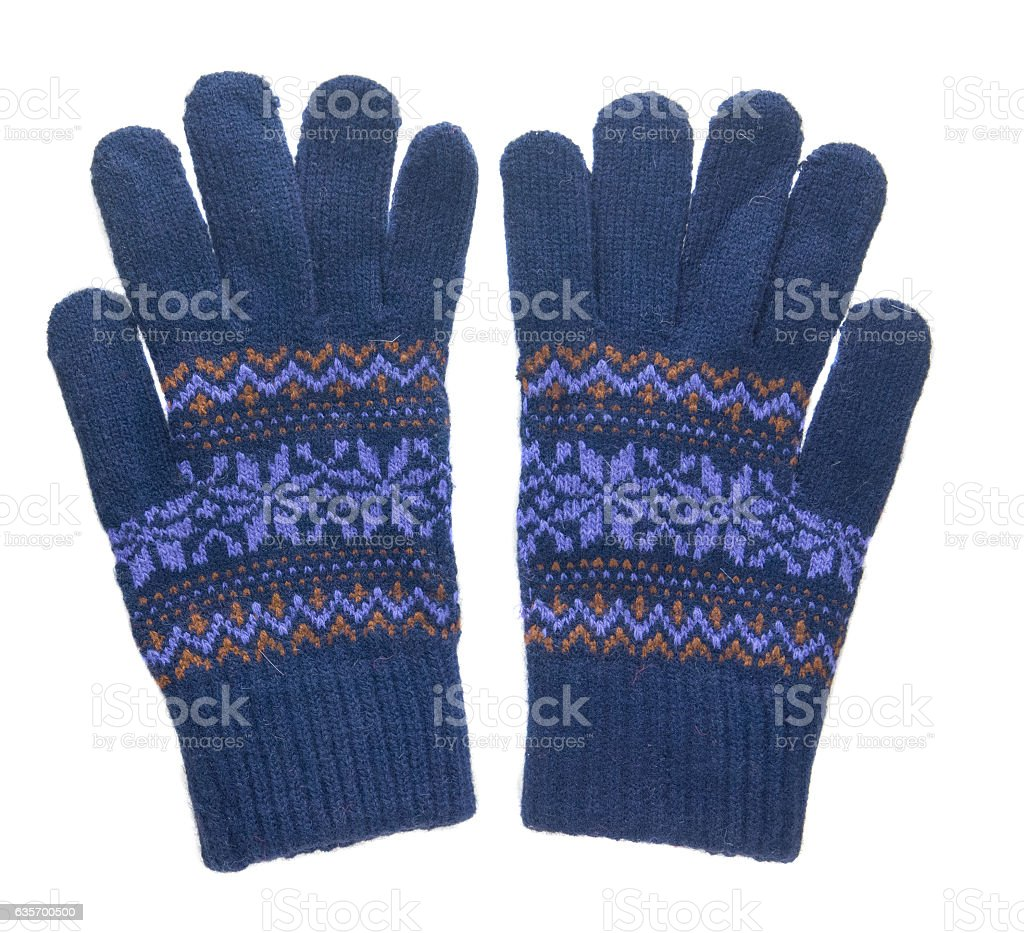 knitted gloves. gloves isolated on white background. gloves royalty-free stock photo
