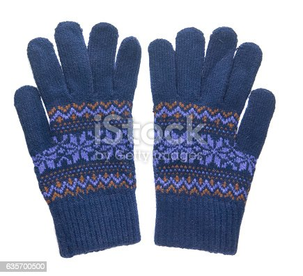 Knitted Gloves Gloves Isolated On White Background Gloves Stock Photo & More Pictures of Art And Craft