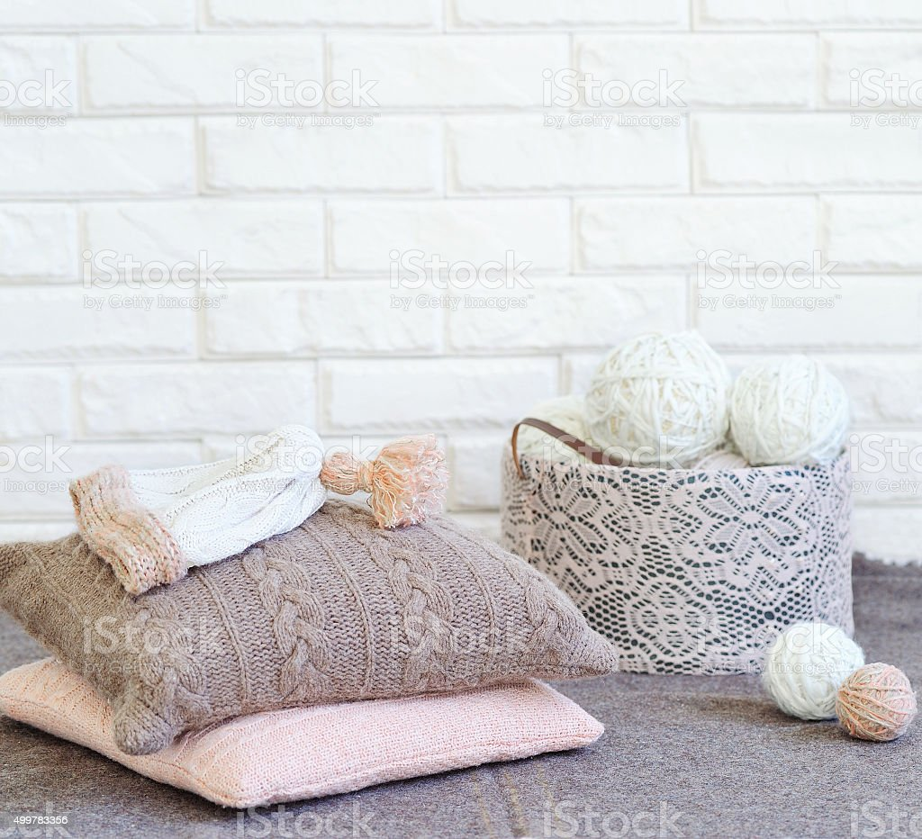 Knitted handmade house decorations stock photo