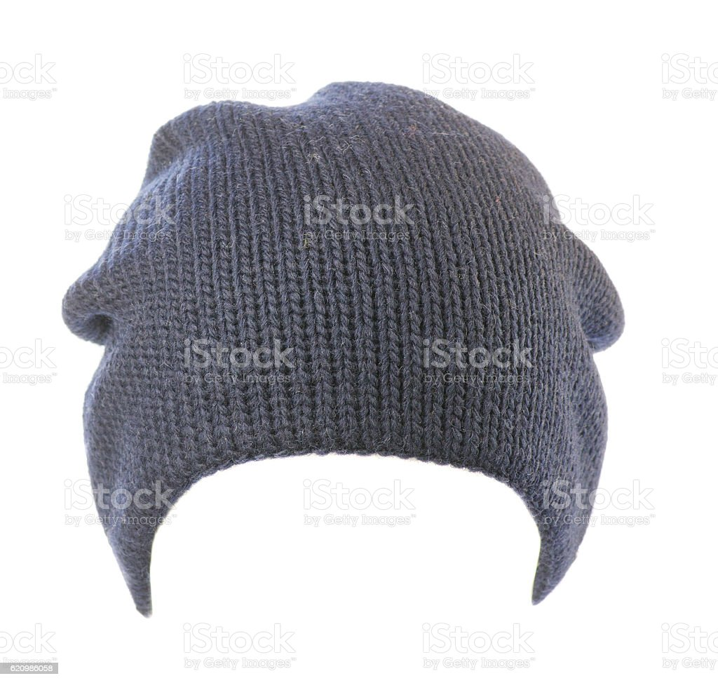knitted hat isolated on white background .blue hat foto royalty-free
