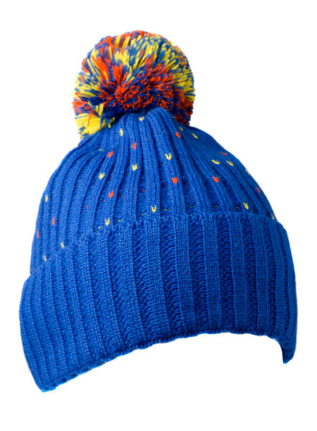 knitted hat isolated on white background .hat with pompon .     blue  hat stock photo