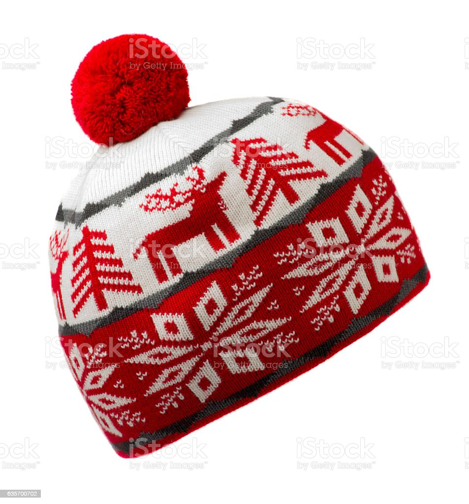knitted hat isolated on white background .hat with pompon . royalty-free stock photo