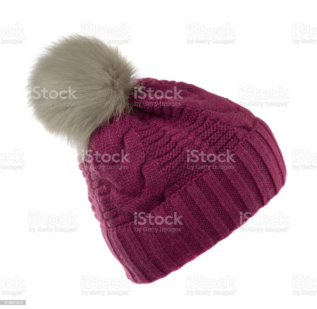 knitted hat isolated on white background .hat with pompon  red - Photo