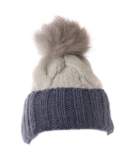 knitted hat isolated on white background stock photo