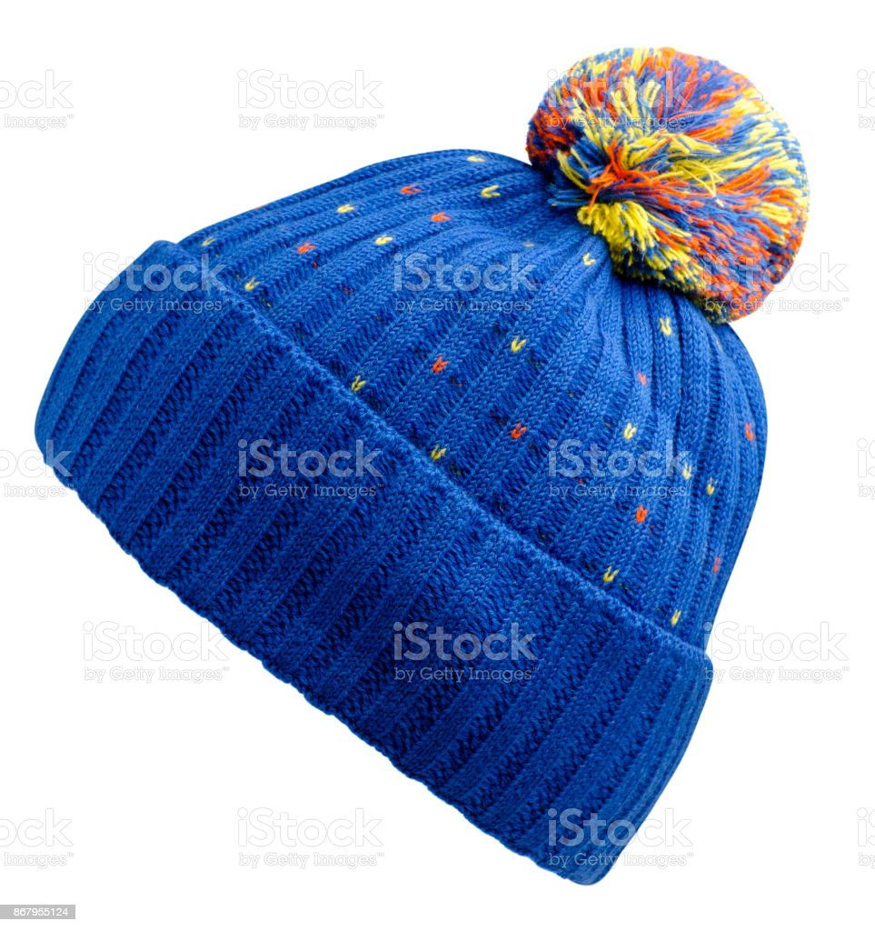 Bonnet en tricot isolé sur fond blanc - Photo