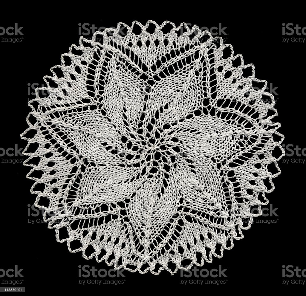knitted lace doily stock photo