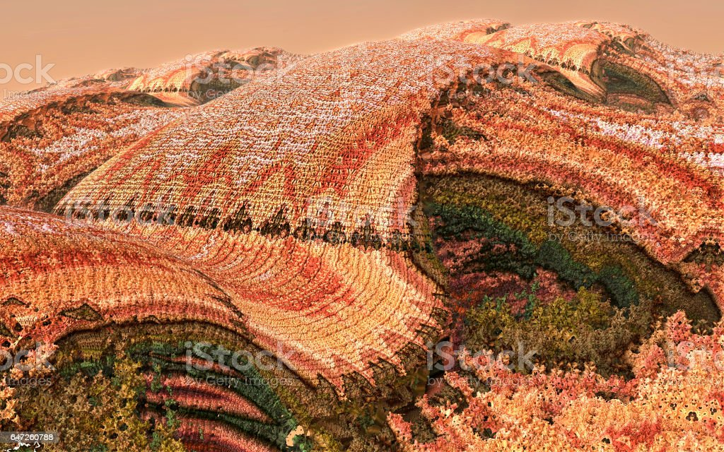 Knitted landscape in orange and green 3D fractal image stock photo