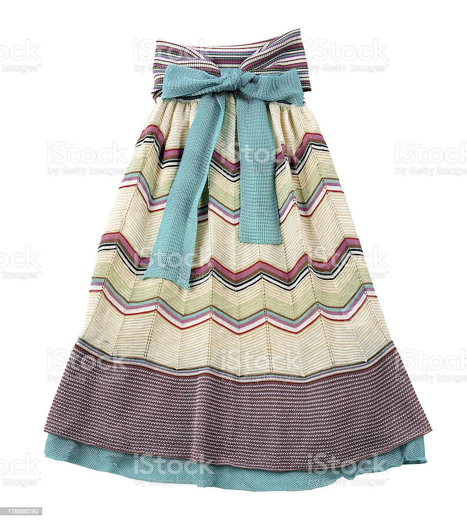 Knitted pleated strapless dress stock photo