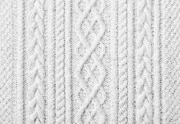 knitted sweater texture, background with copy space - wool stock photos and pictures