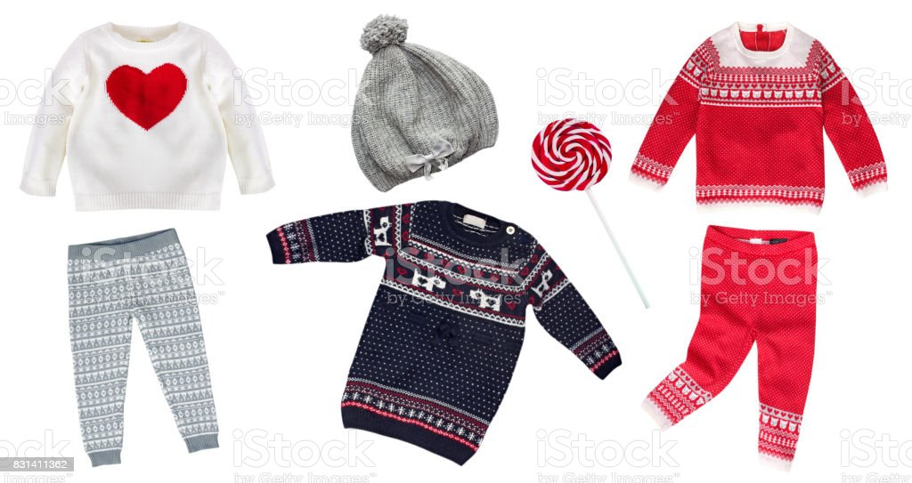 Knitted winter child clothes collage isolated nobody. stock photo