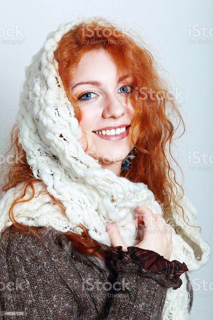 knitted winter clothes stock photo
