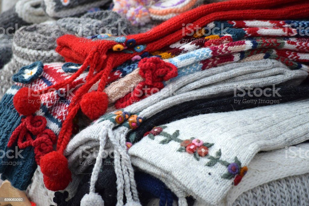 knitted woolen clothing - socks stock photo