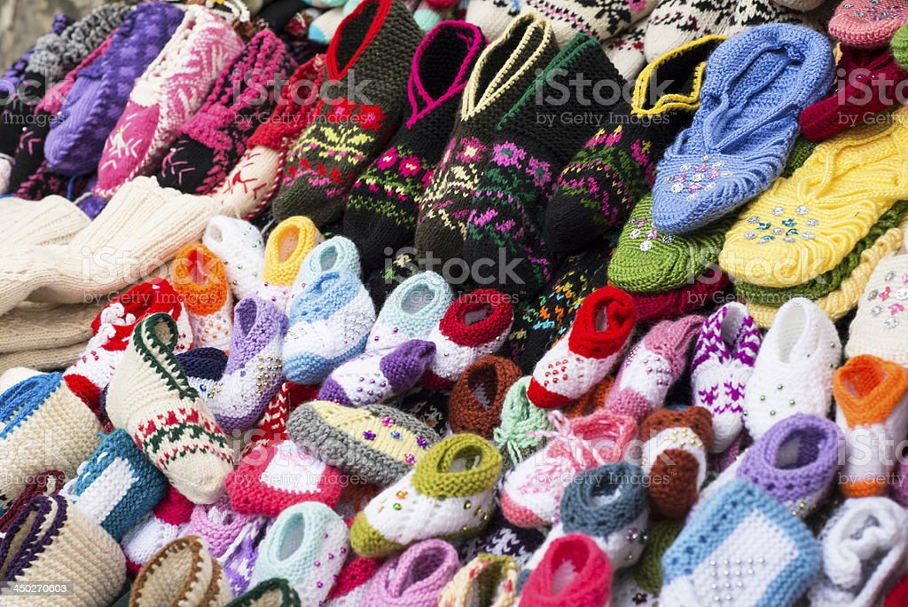 Knitted woolen socks royalty-free stock photo