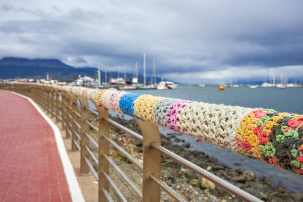Knitted Wraps along the Waterfront in Ushuaia in the Patagonia Region of Argentina in South America stock photo