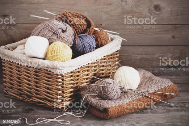 Knitting and knitting needles on a wooden surface picture id915992642?b=1&k=6&m=915992642&s=612x612&h=mcm86jwrxxy1xyydbypyyzjshf3r3zrhwex3 au y6u=
