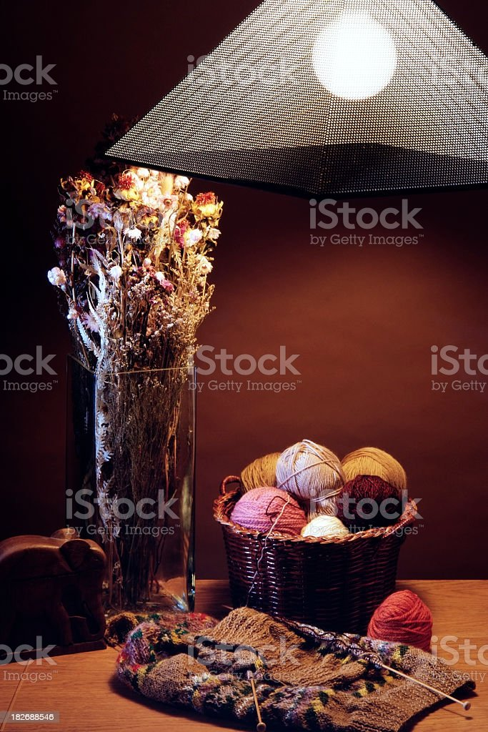 Knitting ball of wools on wood table with light royalty-free stock photo