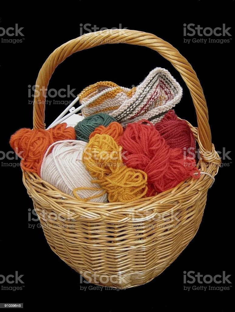 Knitting basket royalty-free stock photo