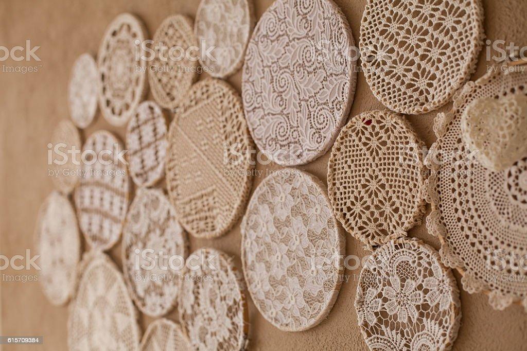 Knitting beautiful laces stock photo