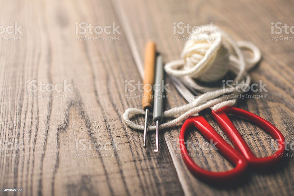 Knitting equipment stock photo