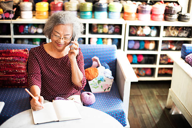 Knitting Handcraft Leisure Activity Recreational Pursuit Retirem stock photo