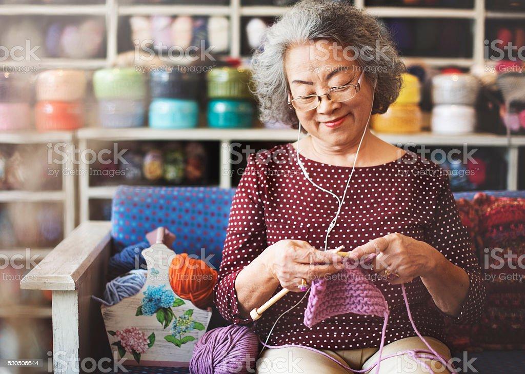 Knitting Knit Needle Yarn Needlework Craft Scarf Concept stock photo