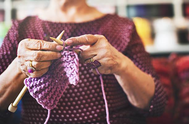 Knitting Knit Needle Yarn Needlework Craft Scarf Concept Knitting Knit Needle Yarn Needlework Craft Scarf Concept hobbies stock pictures, royalty-free photos & images