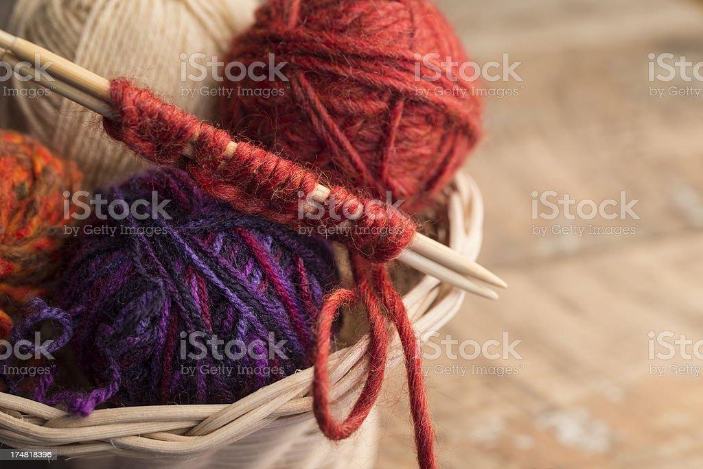Knitting needle and wool royalty-free stock photo