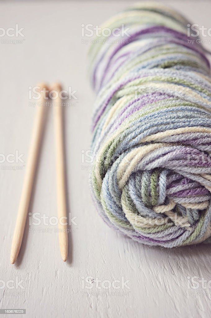 Knitting Needles and Wool royalty-free stock photo