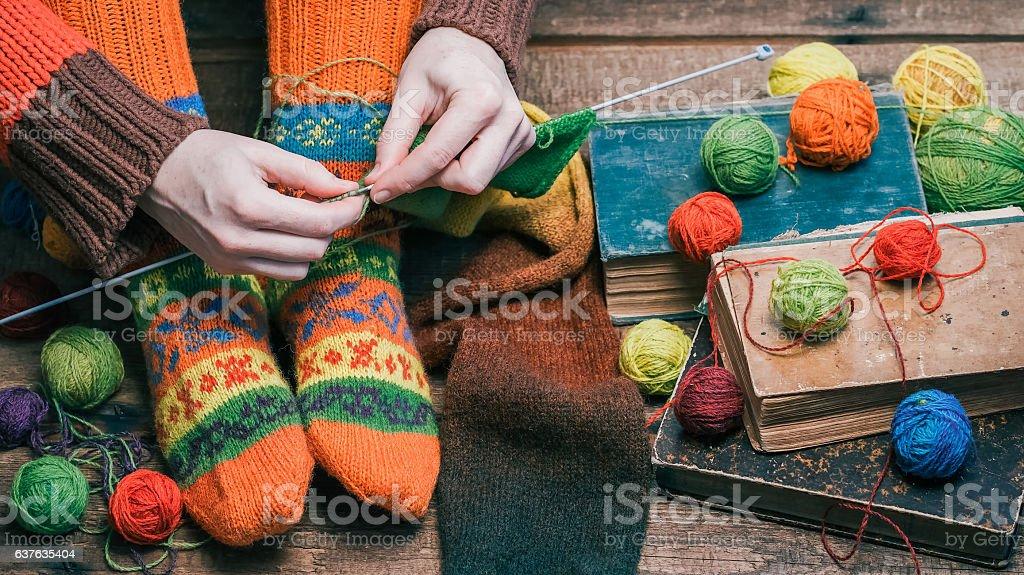 Knitting on the floor stock photo