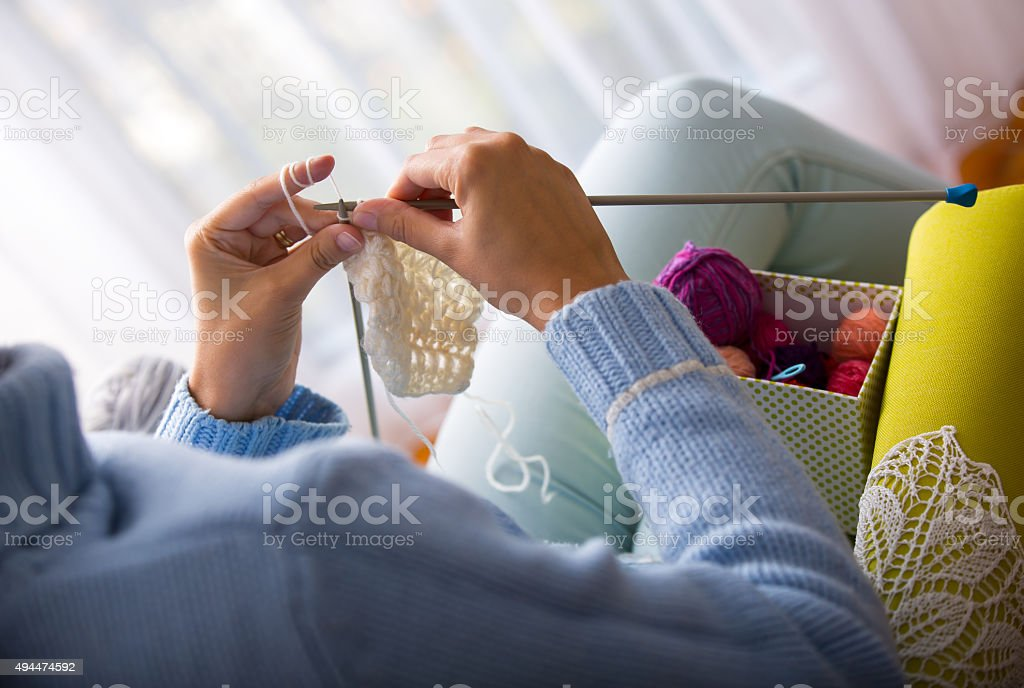 Knitting therapy stock photo