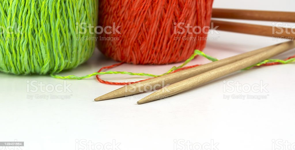 Knitting wool and needle royalty-free stock photo