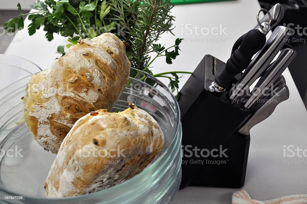 Knives, Bread and Herbs stock photo