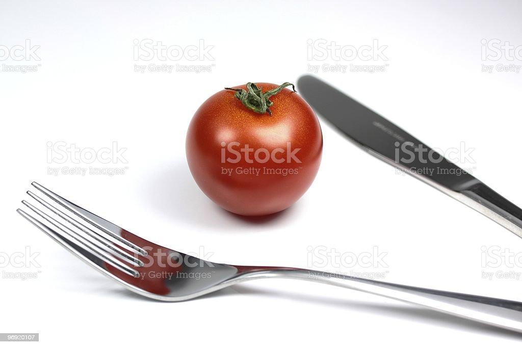 ナイフとフォークとトマト royalty-free stock photo