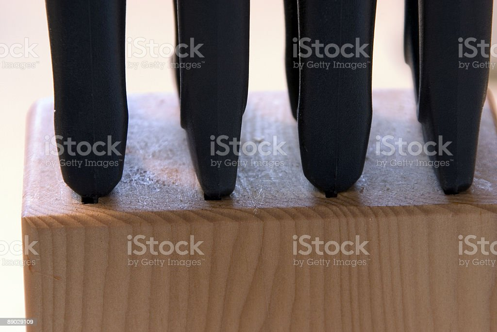 Knives in Wood Block royalty-free stock photo