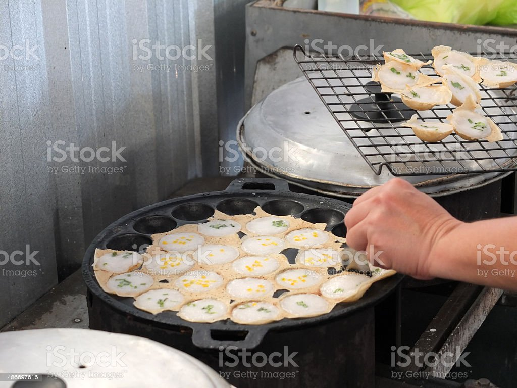 Knmcrk, Traditional thai sweetmeat food made from coconut milk w stock photo