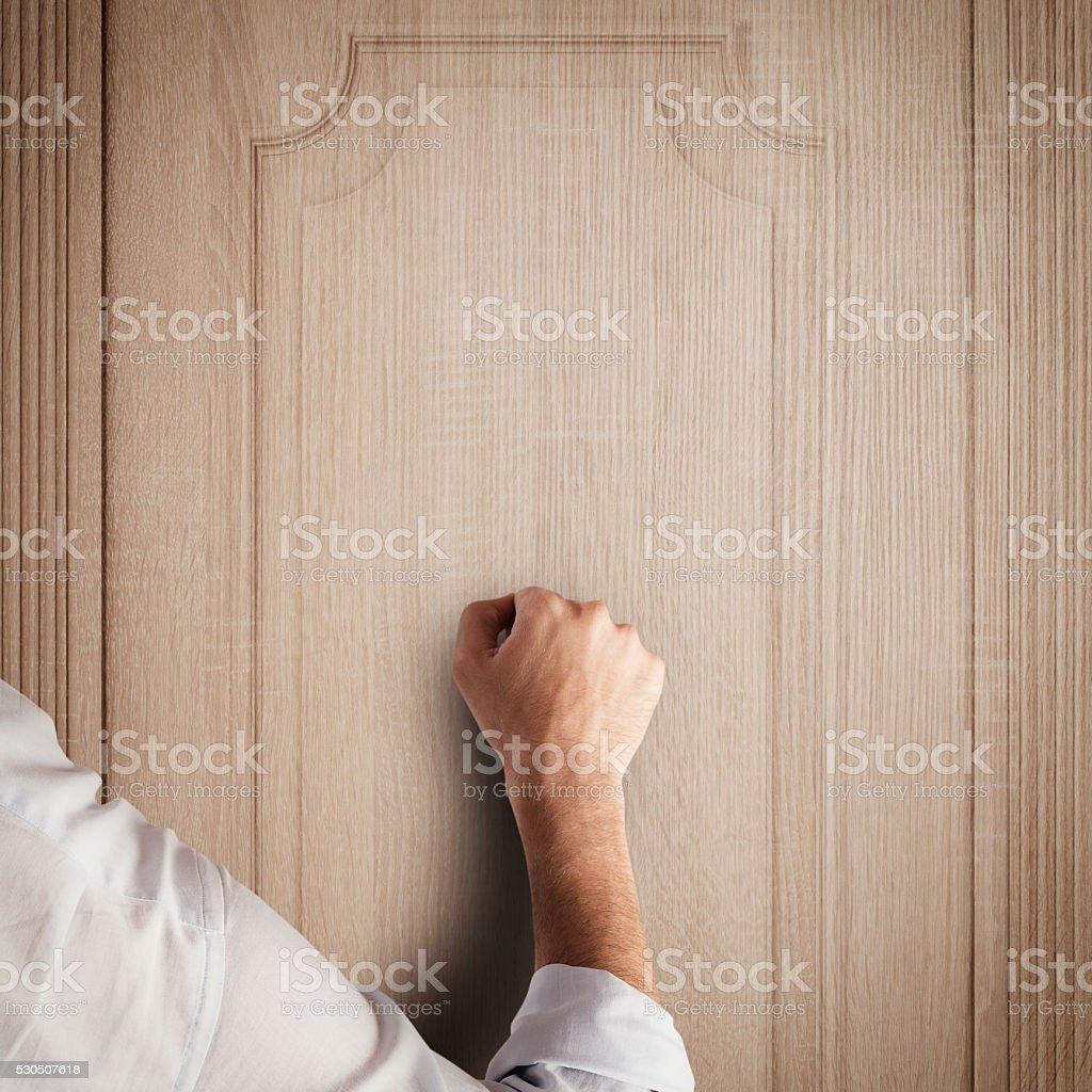 Knock door stock photo