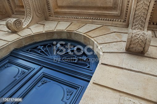 Classic facade of a stylish French mansion in Bordeaux city