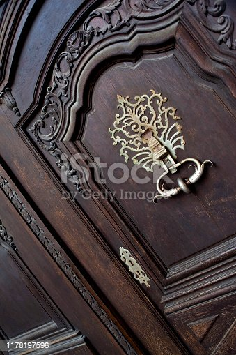 Close up of a stylish wooden door on a classic French mansion