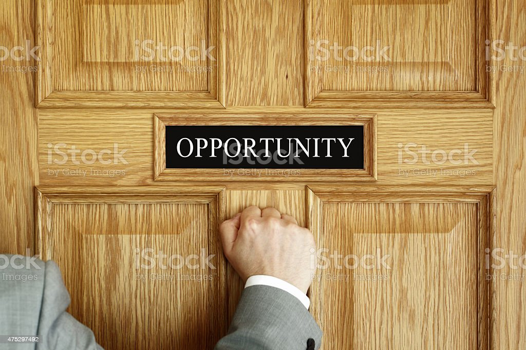 knocking on the door to opportunity stock photo
