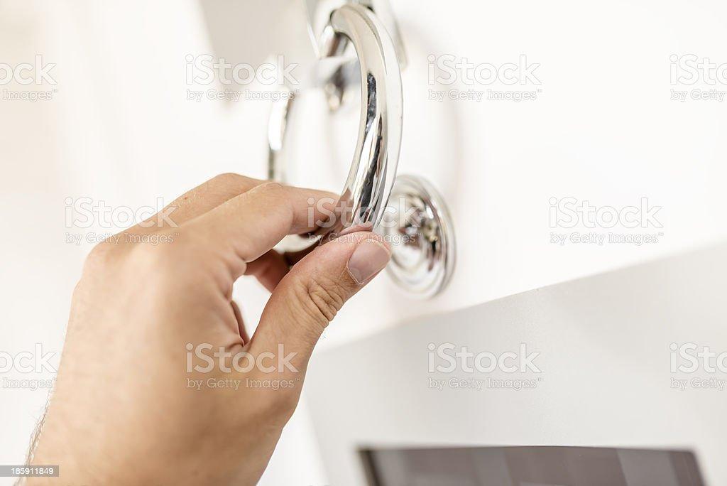 Knocking with door knocker stock photo